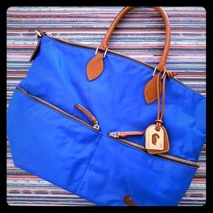 Dooney &Bourke Nylon Blue & Yellow Zipper Tote Bag